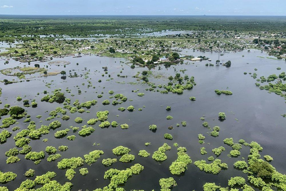 Foto van de overstroming in de regio rondom Pibor, Zuid-Soedan van 4 september 2020.